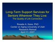 Download the PowerPoint slides - Center on Aging - University of Utah