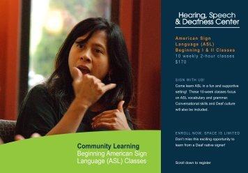(ASL) Classes - Hearing, Speech & Deafness Center