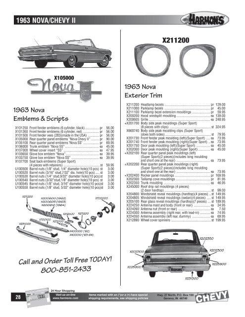 1963 Nova Chevy Ii 1963 Nova Emblems Scripts 1963 Nova