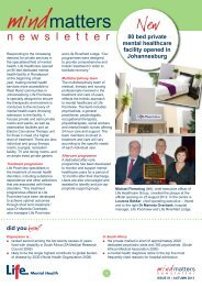 Mind Matters Newsletter - Issue 1 - Autumn 2013 - Life Healthcare