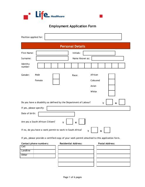 External Employment Application Form - Life Healthcare