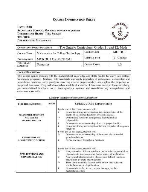 The Ontario Curriculum, Grades 11 and 12: Math MCR ... - MPSJ.ca