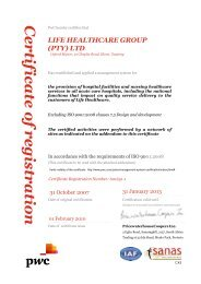 ISO 9001:2008 certification - Life Healthcare