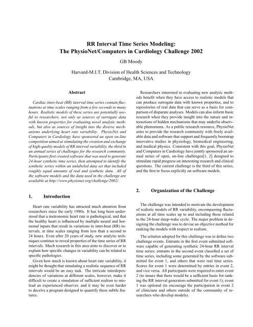 RR Interval Time Series Modeling - MIT-BIH Database Distribution