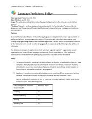 Language Proficiency Policy - Canadian Alliance of Physiotherapy ...