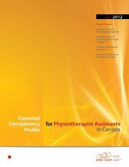 Essential Competency Profile for Physiotherapist Assistants in Canada