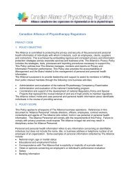 Privacy Code - Canadian Alliance of Physiotherapy Regulators