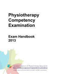Physiotherapy Competency Examination - Canadian Alliance of ...