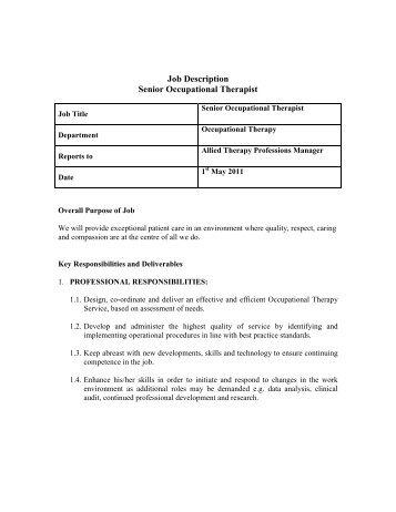 Job Description PhysicalOccupational Therapist  Sacramento