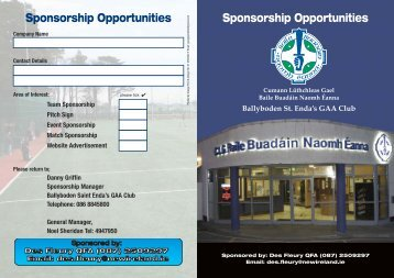Club Sponsorship Brochure Sponsored by Des Fleury