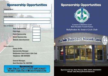 Club Sponsorship Brochure Sponsored by Des Fleury