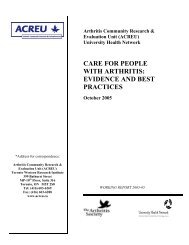 care for people with arthritis: evidence and best practices