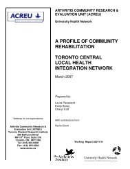 Toronto central local health integration network - Arthritis Community ...
