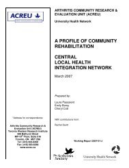 Central local health integration network - Arthritis Community ...