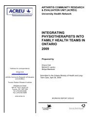integrating physiotherapists into family health teams in ontario 2009