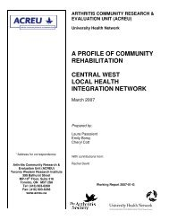 Central west local health integration network - Arthritis Community ...