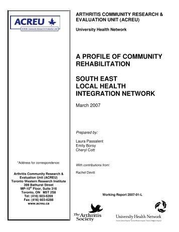 South east local health integration network - Arthritis Community ...