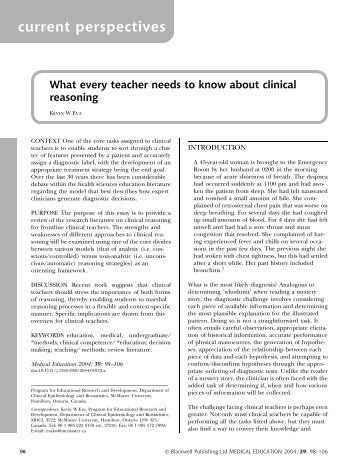 What every teacher needs to know about clinical ... - Dhpescu.org