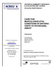 care for musculoskeletal conditions in ontario - Arthritis Community ...