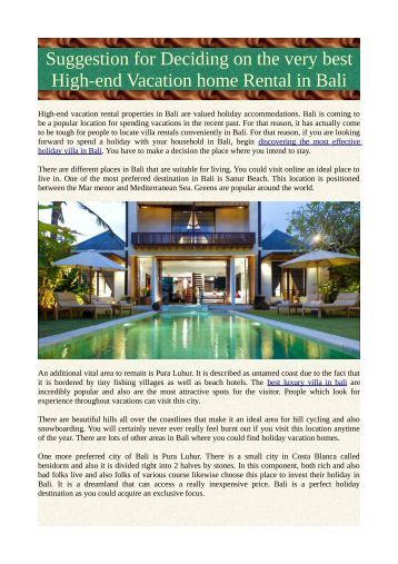 Suggestion for Deciding on the very best High-end Vacation home Rental in Bali