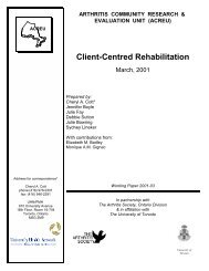Client-Centred Rehabilitation - Arthritis Community Research ...
