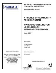 Waterloo Wellington local health integration network - Arthritis ...