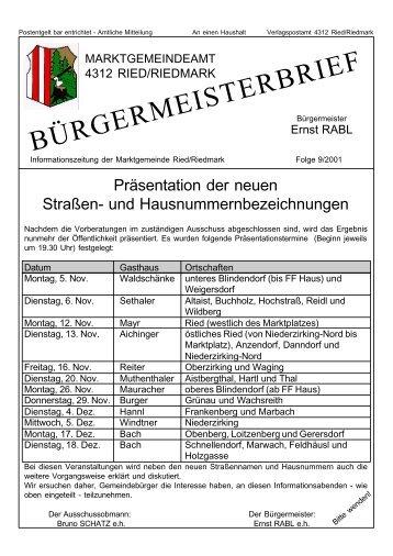 Bürgermeisterbrief 9/2001 (0 bytes) - Ried in der Riedmark