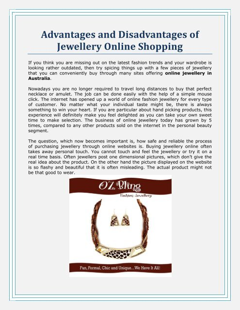 Advantages And Disadvantages Of Jewellery Online Shopping