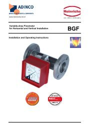 Variable-Area Flowmeter for Horizontal and Vertical ... - Adinco bv