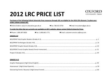 2012 LRC PRICE LIST - Oxford University Press