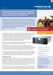 Stanley International Betting takes the gamble out of storage with ...