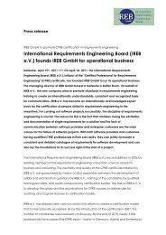 (IREB eV) founds IREB GmbH for operational ... - Möller Horcher