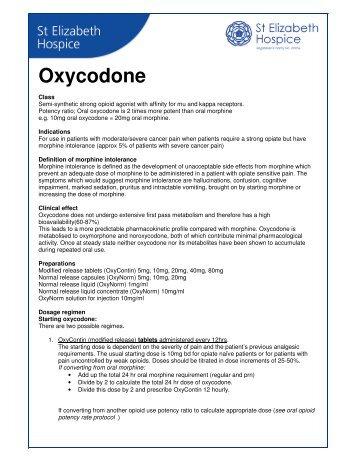 Oxycodone - St Elizabeth Hospice