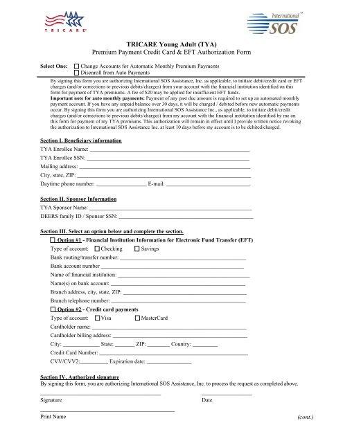 Premium Payment Credit Card Eft Authorization Form Tricare