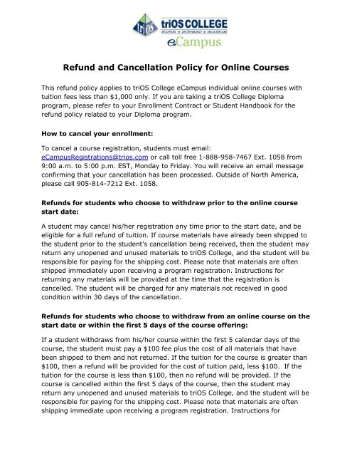 Refund and Cancellation Policy for Online Courses - triOS College