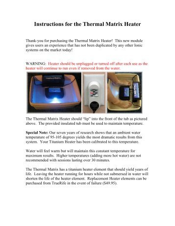Instructions for the Thermal Matrix Heater