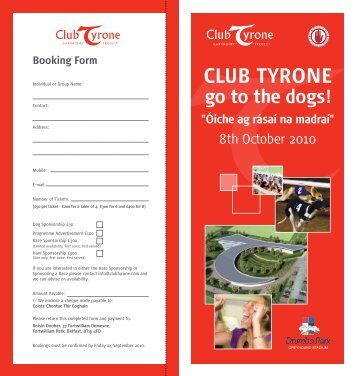 Club Tyrone Dog Race Night Booking Form - Tyrone GAA | Tir ...