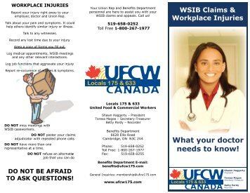 What your doctor needs to know! - UFCW 175 & 633