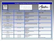 Aesthetic Anti-Aging Fellowship Schedule 2010 - Worldhealth.net