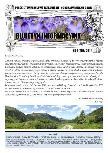 Biuletyn Informacyjny nr 2 (69) / 2012 - Oddział PTT w Bielsku-Białej