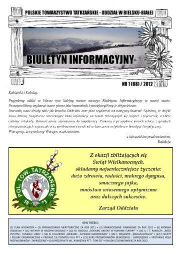 Biuletyn Informacyjny nr 1 (68) / 2012 - Oddział PTT w Bielsku-Białej