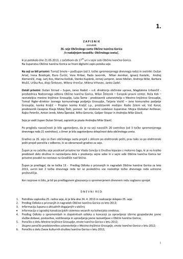 Zapisnik in realizacija sklepov - Občina Ivančna Gorica