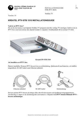 KREATEL IPTV-STB 1510 INSTALLATIONSGUIDE