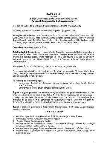 Zapisnik 8. seje - Občina Ivančna Gorica