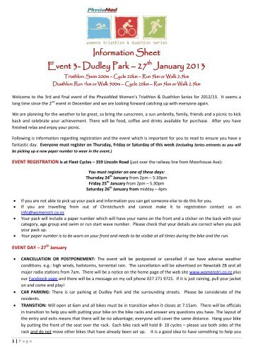 Information Sheet Event 3- Dudley Park – 27th January 2013