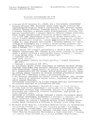 Biuletyn Informacyjny nr 2 (4) / 1994 (pdf – 265 KB) - Oddział PTT w ...
