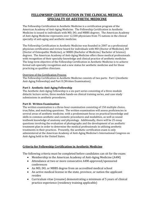 Fellowship Certification in Aesthetic Medicine - Worldhealth net
