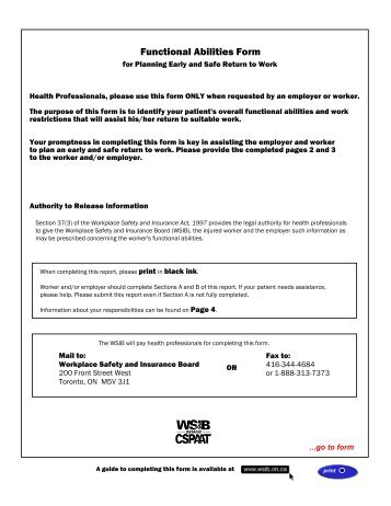 Functional Abilities Form (FAF) - UFCW 175 & 633