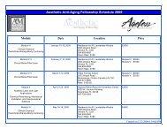 Aesthetic Anti-Aging Fellowship Schedule 2009 - Worldhealth.net