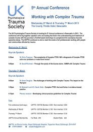 5th Annual Conference Working with Complex Trauma - ukpts